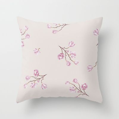 Almond's Blossoms Throw Pillow by Evgenia Drouga - $20.00