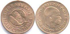 Сьерра-Леоне. 1/2 цента, 1964, бронза.