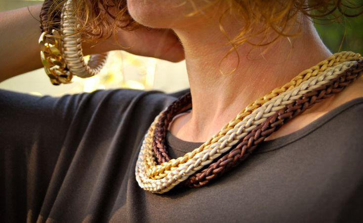 Handmade necklace with brown satin cord!
