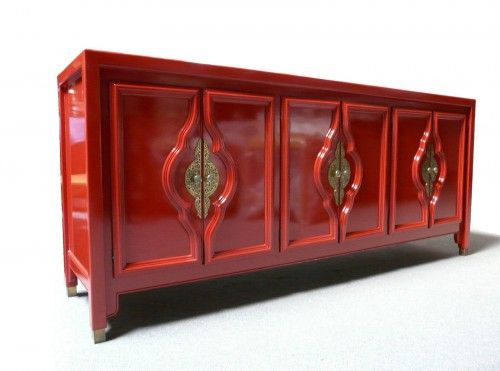 Delightful Red Lacquered Sideboard   Mid Century Modern Hollywood Regency Duquette  Style From Design Haven On Ebay