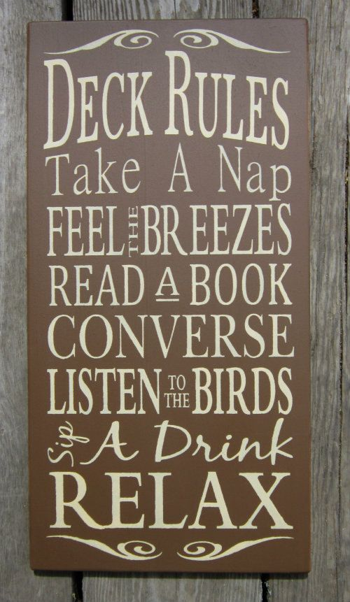 Deck Rules  Large Wood Typography Sign