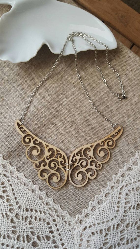 Wood necklace natural necklace lazer cut by LuxedesignsbySarah