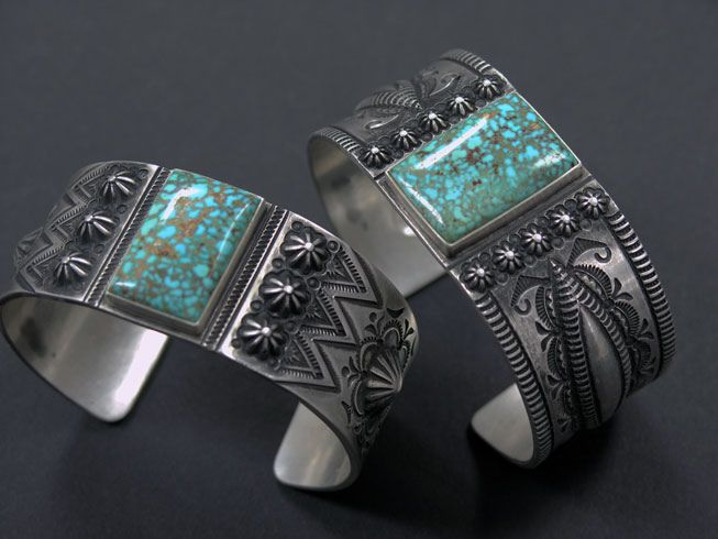 https://flic.kr/p/9At7cd | Edison Sandy Smith | Two beautiful Kingman Turquoise repousse cuffs.