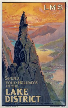 Napes Needle, Great Gable, Lake District, Cumbria. Vintage LMS Travel poster by…
