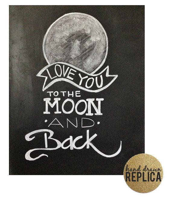 Chalkboard Print I Love You to the moon & back