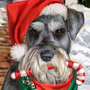 Schnauzer Christmas Labels Merry Christmas Card Puppy Holiday Dogs Santa Claus Dog Puppies Xmas