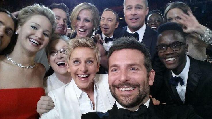 Selfie Oscars 2014 with Angelina Jolie, Brad Pitt, Jennifer Lawrence, Bradley Cooper, Meryl Streep, Julia Roberts, Channing Tatum, Jared Letho and more.
