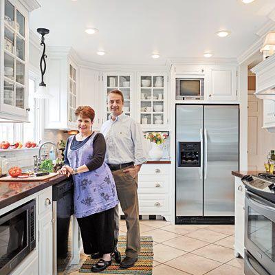 White farmhouse kitchen in Toledo, Ohio--their starting point looked very familiar...