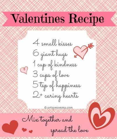 Print these sweet Recipe for Valentine's Day Poems for free to use in crafts or as Valentine's Day decor.