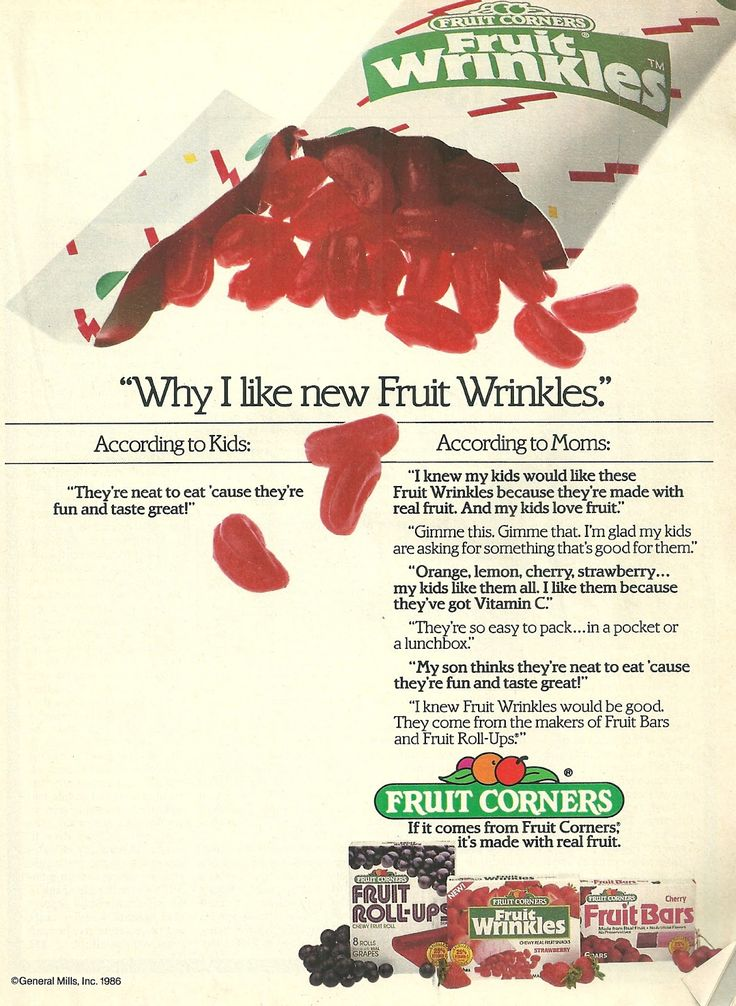 FRUIT WRINKLES!!! Remember these? The ORIGINAL fruit snack for 80's kids. :)