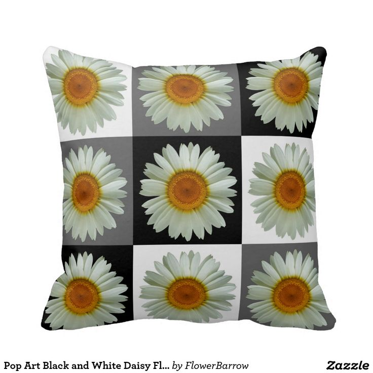 Pop Art Black and White Daisy Floral Pattern Pillows