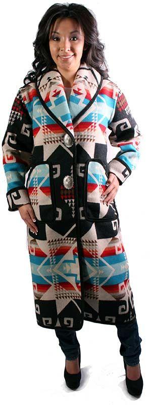 Keams Canyon Long Coat - Fremont [F437FM] - $380.00 : Navajo designer Virginia Yazzie-Ballenger presents Navajo Spirit Southwestern Wear, Contemporary fashion inspired by Tradition Navajo Clothing at Navajo Spirit fashion house online. Gallup NM
