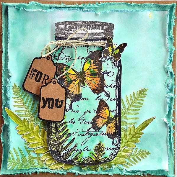 A beautiful way to use a glass jar stamp - from the Darkroom Door Blog. Available to buy from your local art shop or Art by Jenny :D