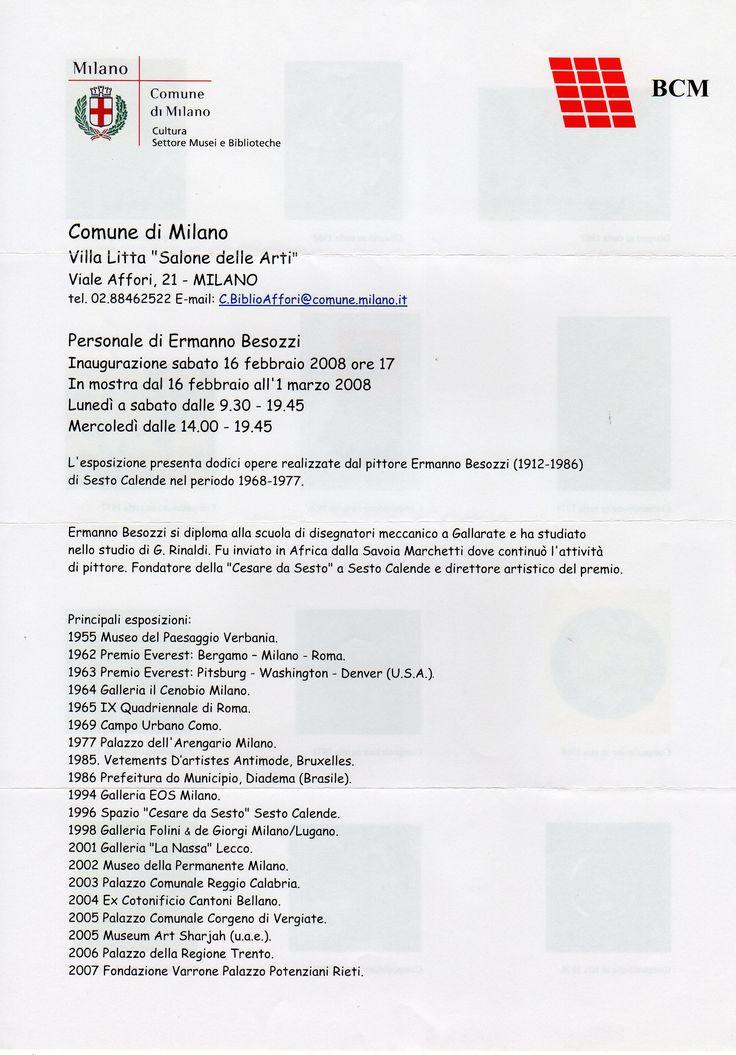 2008 Pieghevole personale Comune Milano Villa Litta Milano