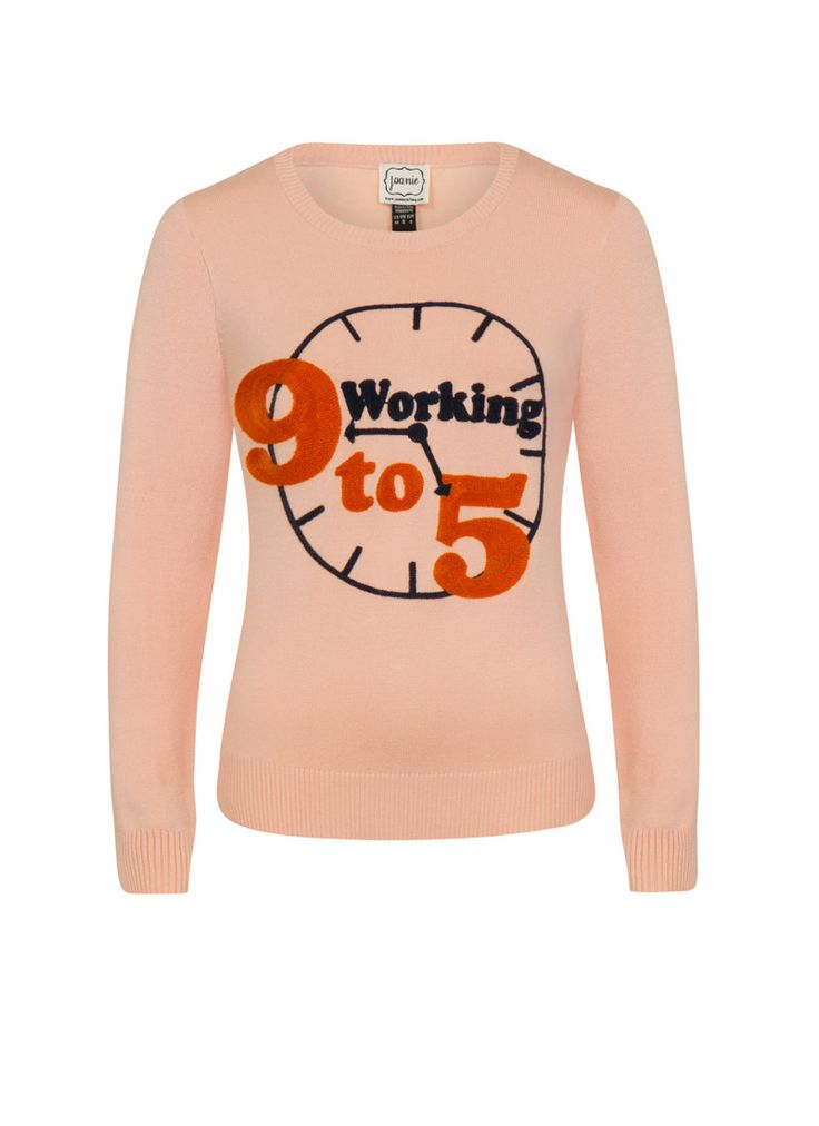 The Dolly 9-To-5 Slogan Jumper is a vintage-style knit in a classic fit and rib detail trims with a fun 9 to 5 embroidered slogan.