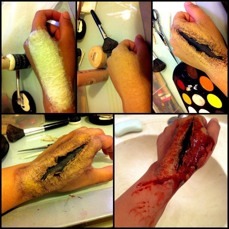 sfx makeup pictorial. toilet paper & liquid latex.  Deep wounds, more likely to be on the thigh due to running through the forrests