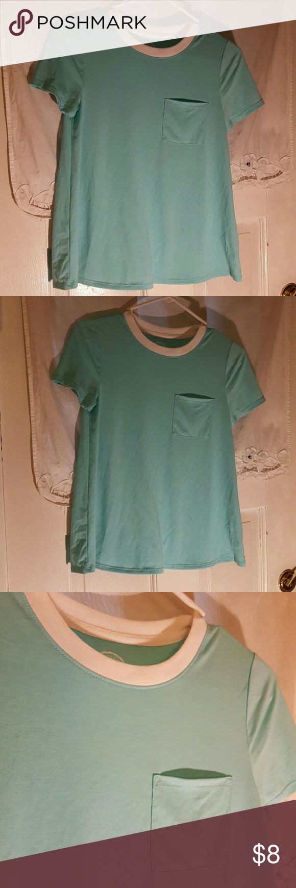 Sea form green with white collar and pocket This is a super soft seafoam green / blue shirt with a pocket SO Tops Tees - Short Sleeve