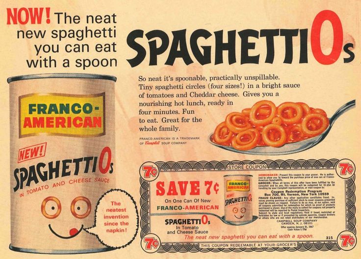 "Spaghettios!...Introduced in 1965 by the Campbell Soup Company under the Franco-American brand, the pasta was created by Donald Goerke (1926–2010), ""the Daddy-O of SpaghettiOs"", after a year-long internal study of the appropriate shape for a pasta dish that people could eat without making a mess. Rejected shapes included cowboys, Native Americans, spacemen, stars, and sports shapes."