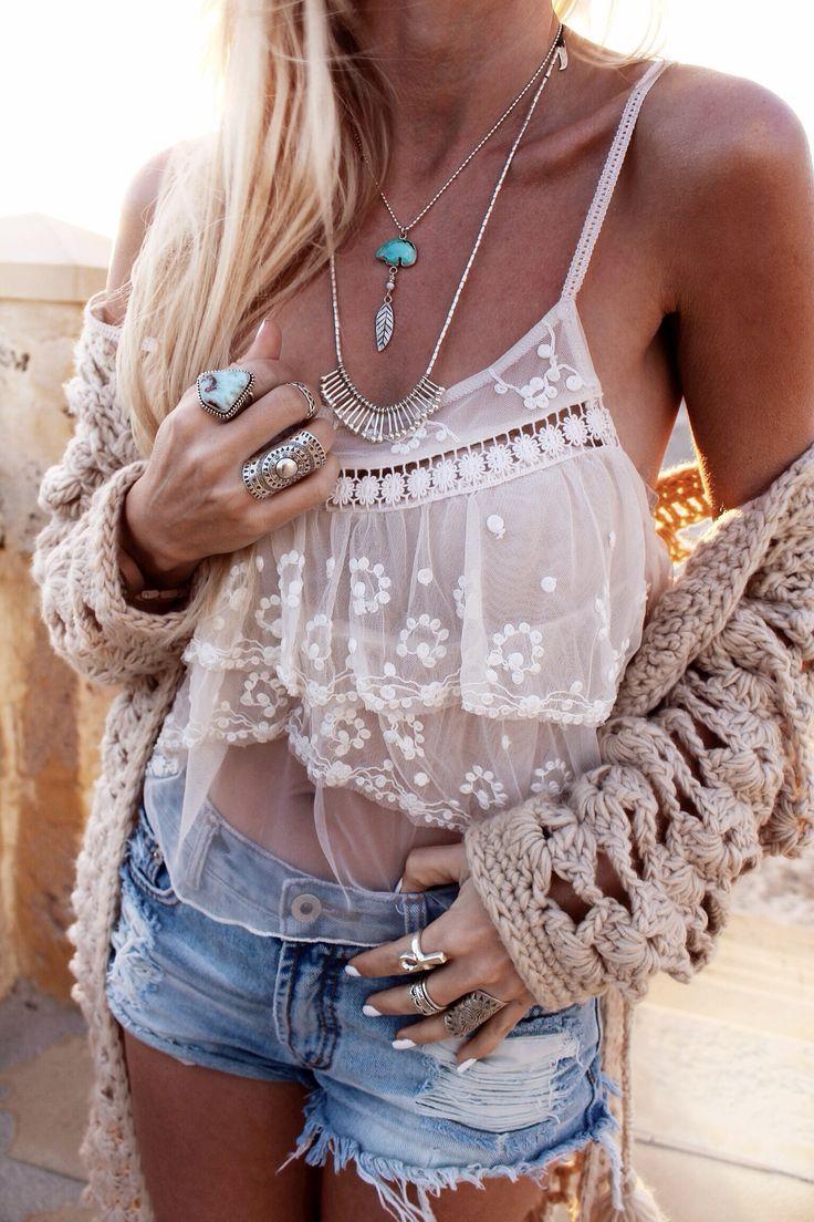 sheer crochet bandeau tank, denim cutoffs, oversized sweater cardigan, native jewelry