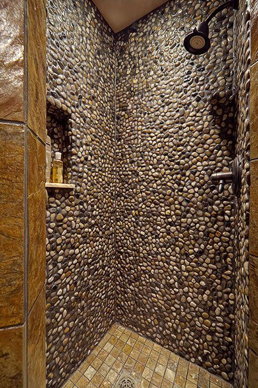 pebble shower walls