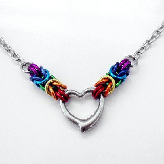 Rainbow Byzantine & Stainless Steel Heart Pendant Necklace 52cm / 20""