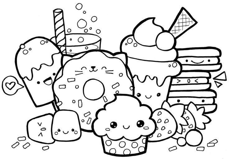 Cute Food Coloring Pages Food coloring pages, Pusheen