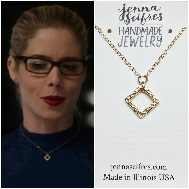 """14k Gold Filled Square Necklace - As Seen On TV's """"Arrow"""" - Worn by Emily Richards as Felicity Ep. 613"""