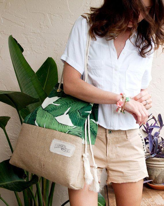Green Banana Leaf Beach Bag Tropical Tote Palm por theAtlanticOcean
