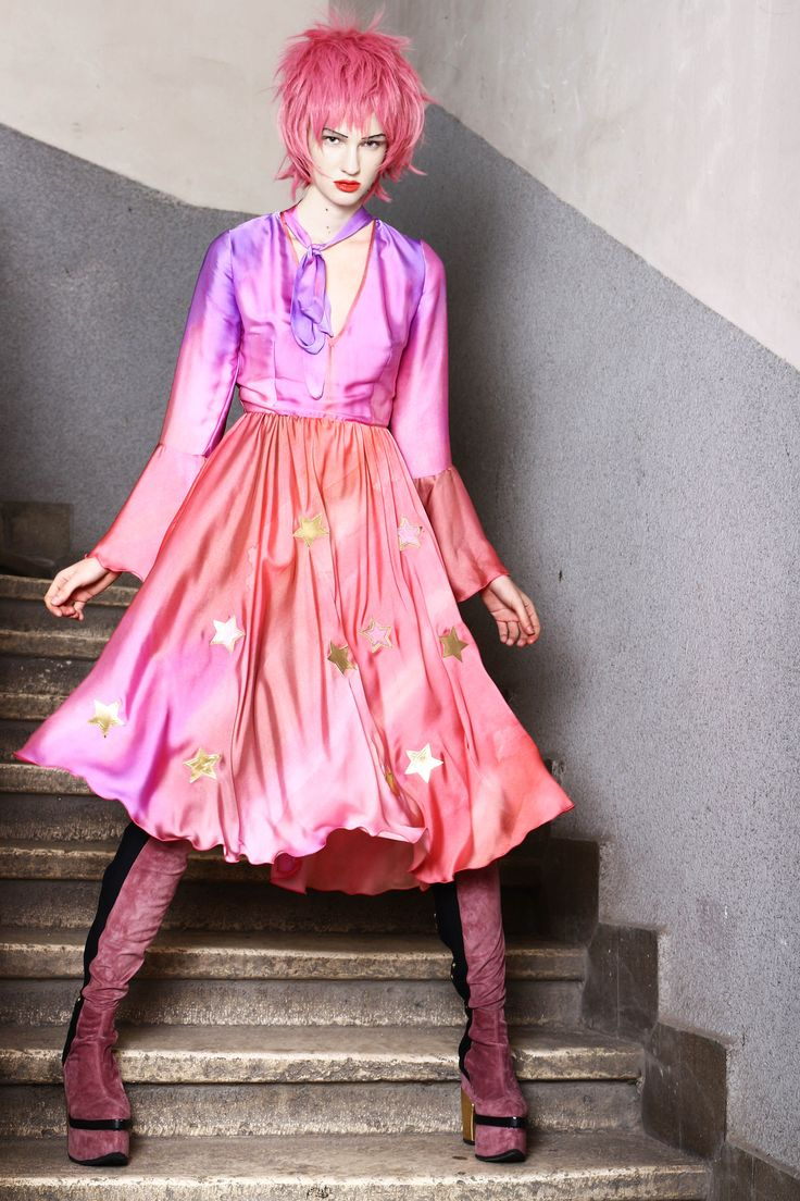 Abodi aquarelle silk dress with leather star applications.