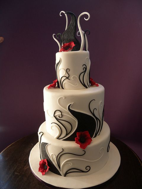Kimber:  I love this cake...very interesting idea!!  Black and White Swirls by Alliance Bakery    Unique cake