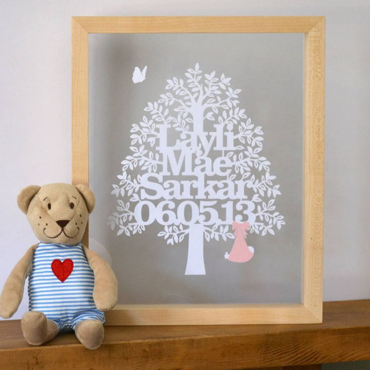 Personalised Baby Girl Tree Papercut