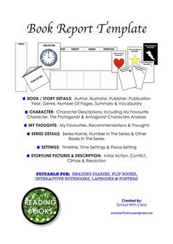 Designed for younger students just starting to do book reports and can be used for older students too!  Each item is done in different sized lines for different aged students.  Plus there are some blank options, so this can be varied to your students' needs or teaching requirements.