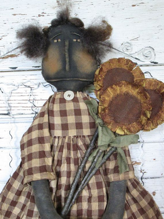 Primitive Grungy Folk Art Sadie and Her by OldeAtticPrims on Etsy, $44.00