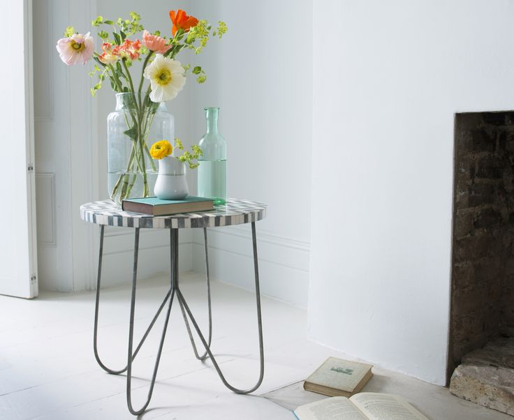 Loaf's Mojo side table with a jarful of flowers