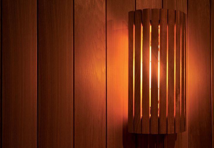 Sauna lamps make your sauna experience relaxing and peaceful.  #SAWO #SAWOsauna #Sauna #Wood #Lamppu