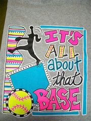 Southern Chics Funny All About That Base Softball Sweet Girlie Bright | SimplyCuteTees