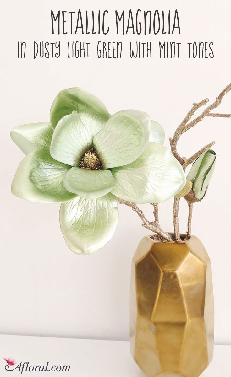 Metallic Magnolia in Dusty Light Green with Mint Tones for Holiday Decorating