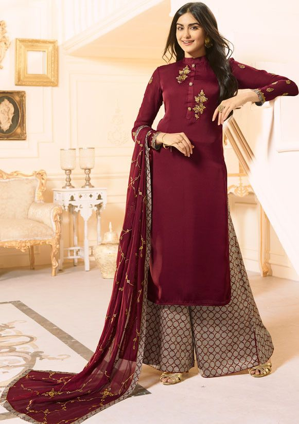 a7348d43801 ... Sharara Style Suit (SKU Code   and wear it on any party wedding  occasion. Adah Sharma Maroon  Palazzo  Kameez