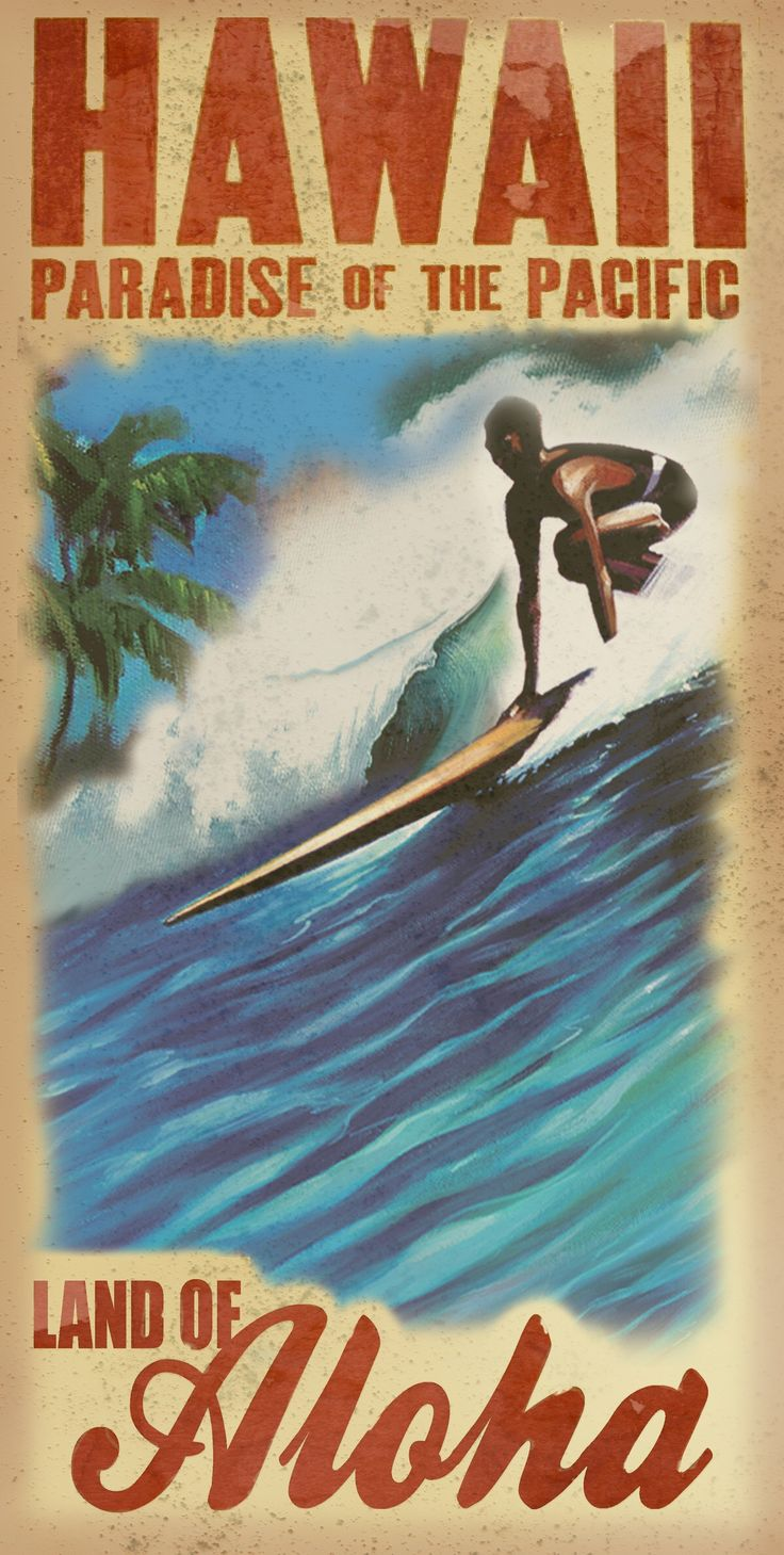 Surf Posters, Retro Posters, Vintage Travel Posters, Vintage Hawaii, Vintage Surf, Surf Art, Graffiti Art, Surfing, Fruit Box