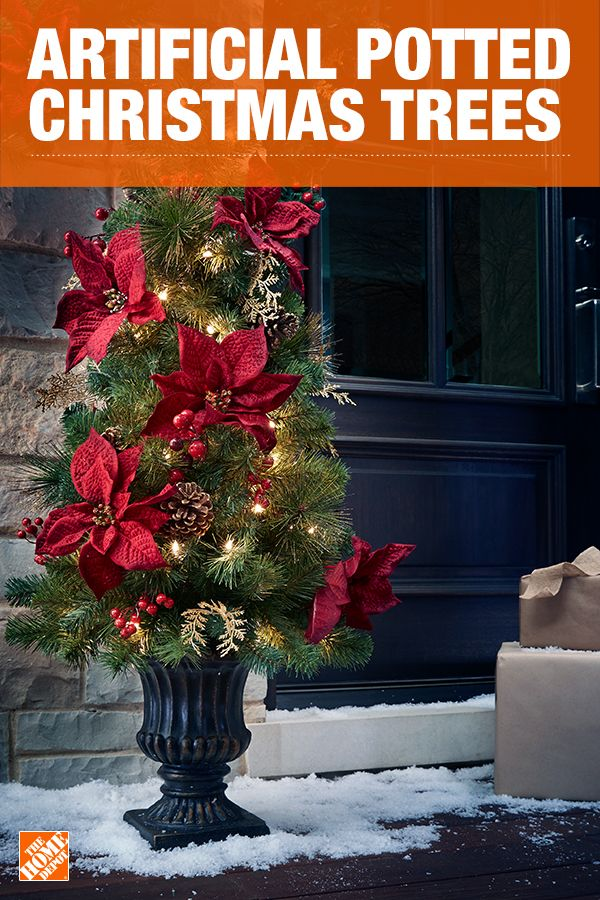 Bring some holiday spirit outside with artificial potted Christmas trees for your front porch or walkway. Go elegant and simple with a pre-lit faux spruce, or add some fun with decorated options in tons of colors. No matter your style, there's a topiary that's perfect for you. Click to shop porch and potted Christmas trees.