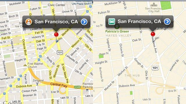 Comparison between googlemap and applemap