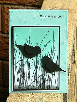 handmade anniversary  card from KB Papercraft aqua and black ... punched bird silhouettes on grasses ... Stampin' Up!