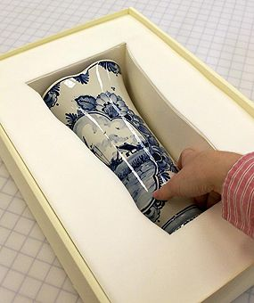 photo of a ceramic vase cushioned with Ethafoam® and Volara® inside a custom box