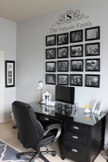 Cute B & W office.  Love the family picture wall & the monogram....