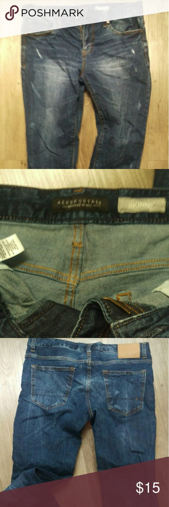 """Men's Aeropostale Skinny Jean Flex fabric, brilliant blue, 32"""" inseam, I maybe wore them once but I wasn't thrilled about the fit. I'm a long fellow so I can be finicky with jeans. Aeropostale Jeans Skinny"""