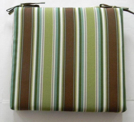 Indoor / Outdoor Universal Foam Chair Cushion With Ties   Brown , Green,  Teal,
