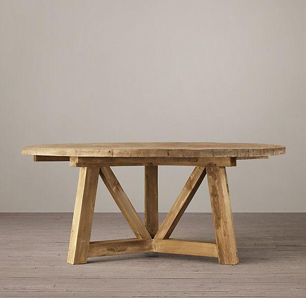 "Salvaged Wood Beam 60"" Round Dining Table"