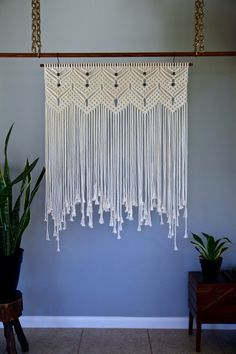 Macrame Wall Hanging – Natural White Cotton 36″ Dowel w/ Beads – Wedding Backdrop, Curtain, Boho Home, Nursery Decor – Ready To Ship Lilly Rose Gilbert