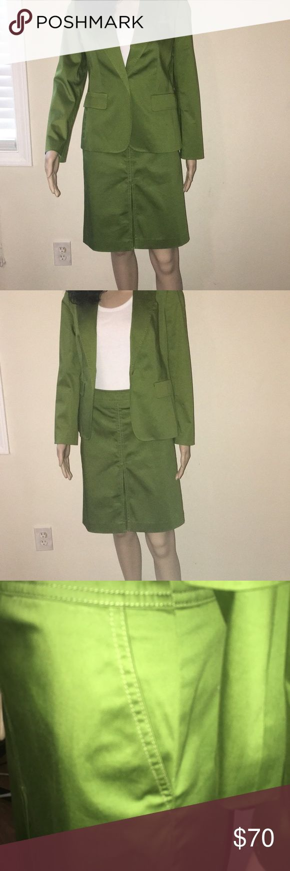 Talbots's two piece set Featured here is a green two piece skirt with matching blazer. The skirt has two side pockets. This is a business casual set . Stand out for the fall paired with your favorite boots. Talbots Jackets & Coats Blazers
