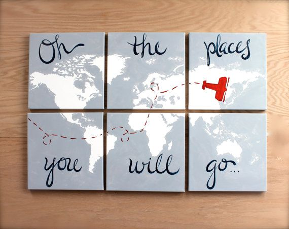 "oh the places... world map with airplane. 6- 12""x12"" canvas. oh the places you will go. come fly with me. navy blue, red, light gray, custom on Etsy, $138.00"